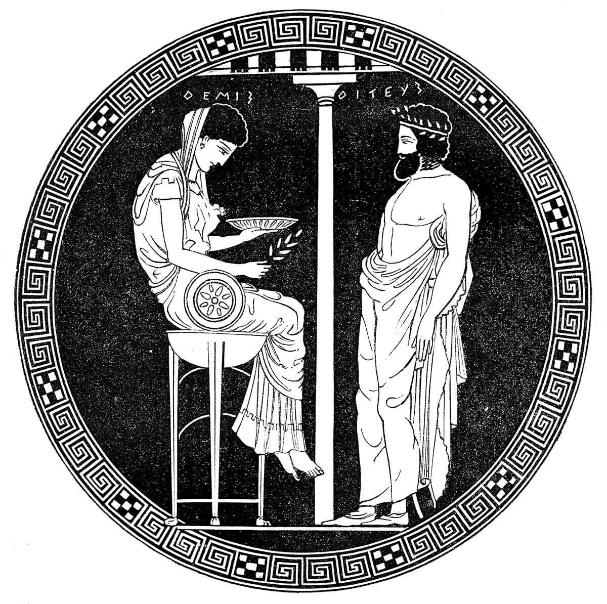Themis, as the prototype of the Pythia, seated on the Delphic tripod, consulted by Aigeus
